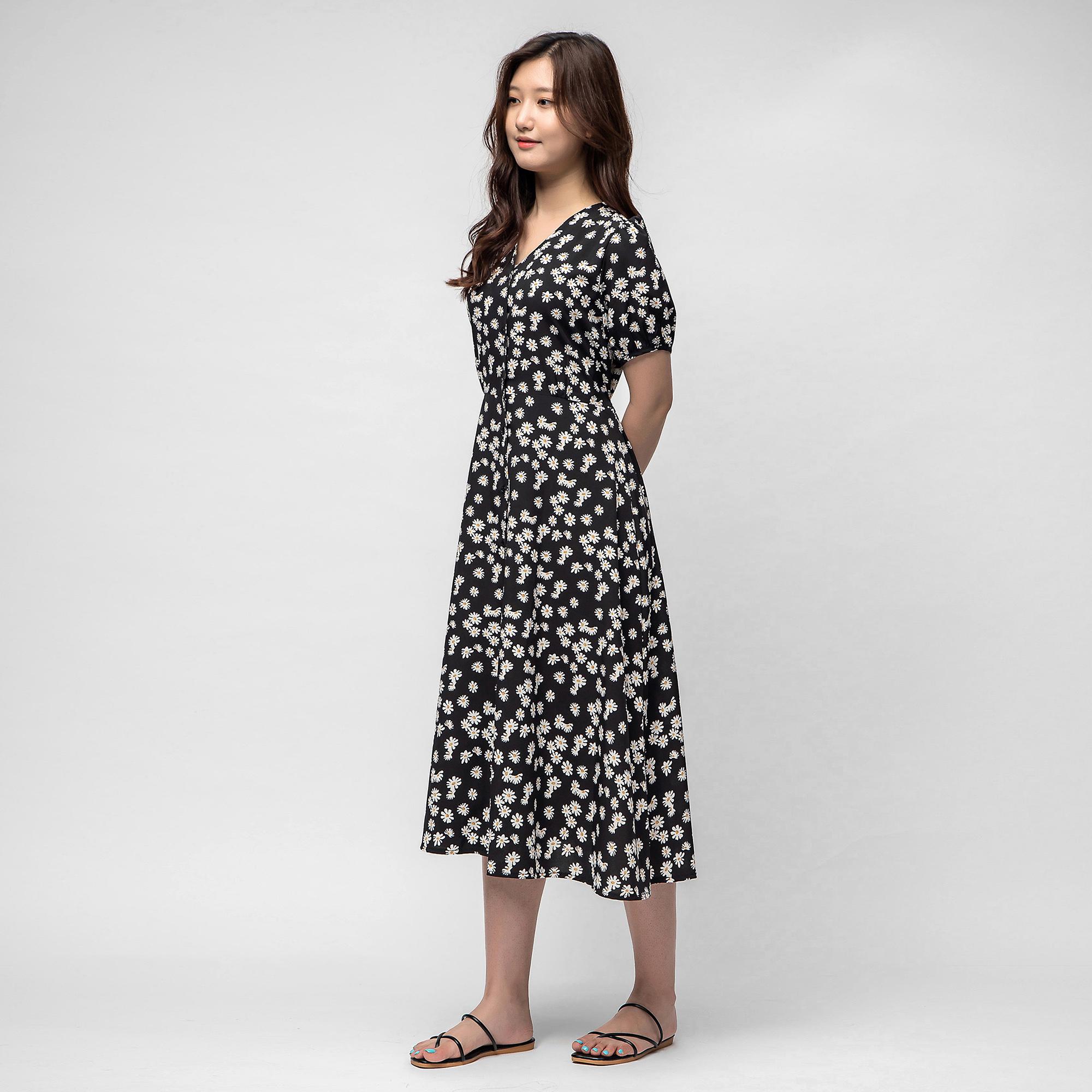 캐럿 여성 프런트버튼 데이지 드레스