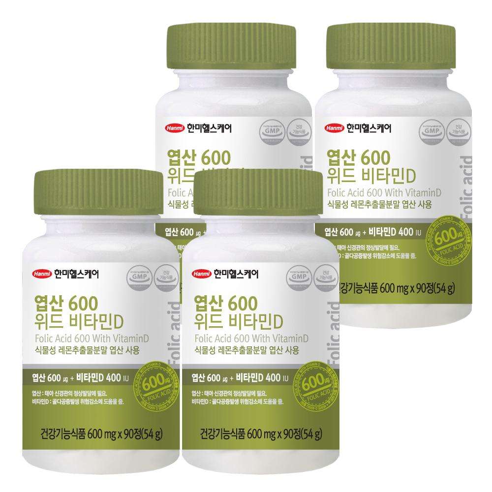 한미헬스케어 엽산 600 위드 비타민D, 90정, 4개입