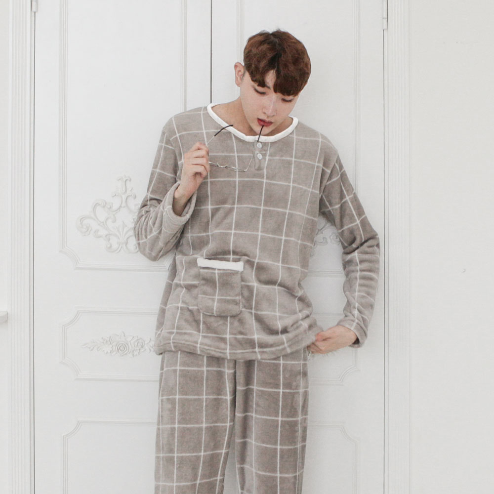 어나더디 모던체크 커플 수면잠옷 세트