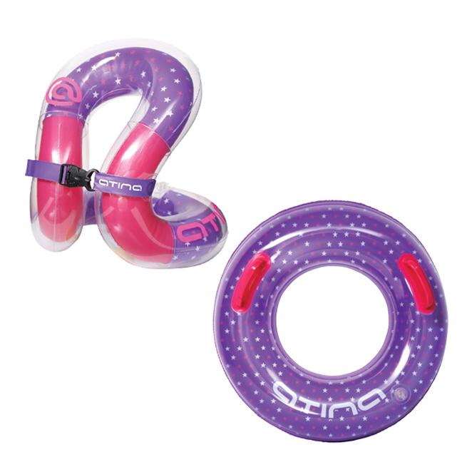 아티나 아동용 조끼형 수영보조용품 넥베스트 + 튜브 세트 25kg, 핑크