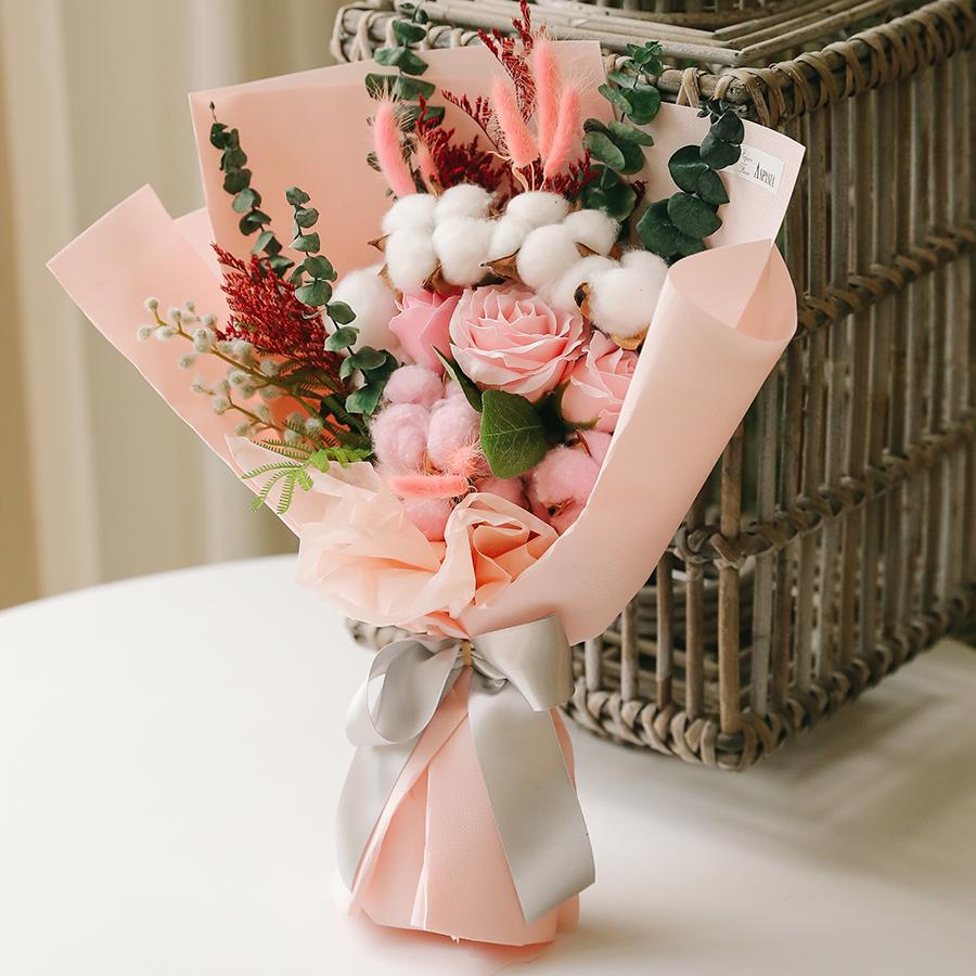 아스파시아 조화 꽃가람 프리저브드 꽃다발 + 메시지픽 + 쇼핑백, 핑크