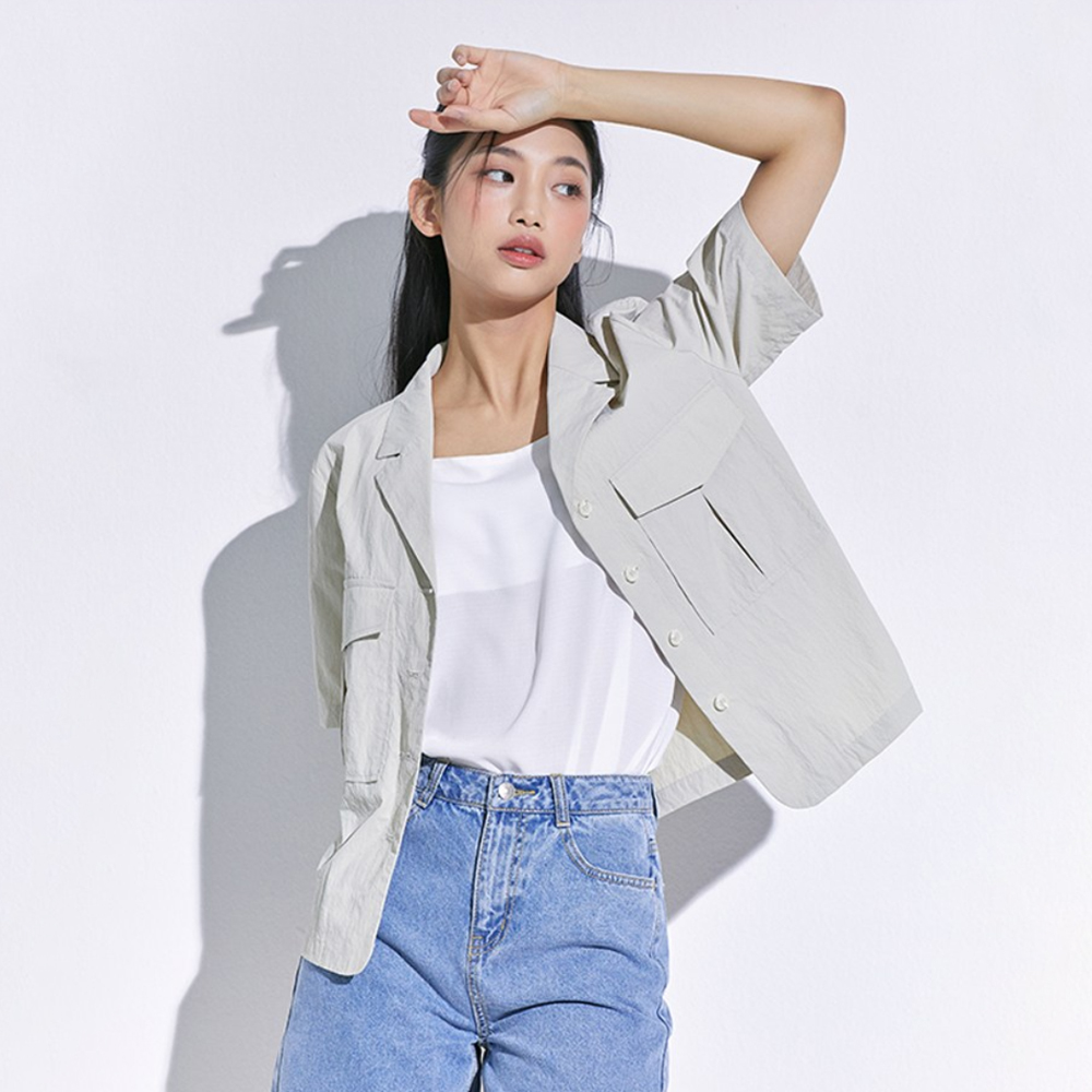 미쏘 여성용 화섬소재 반팔 셔츠형 아우터