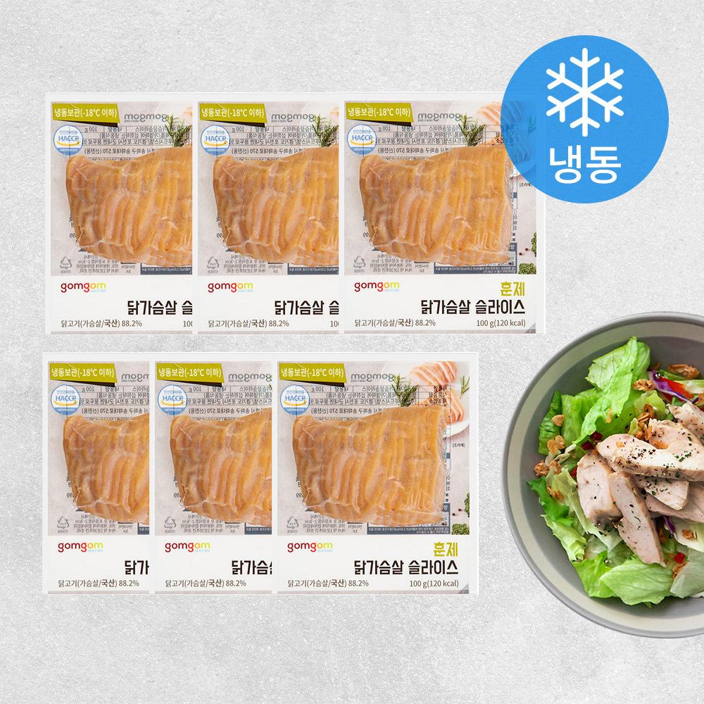 곰곰 훈제 닭가슴살 슬라이스 (냉동), 100g, 6개입