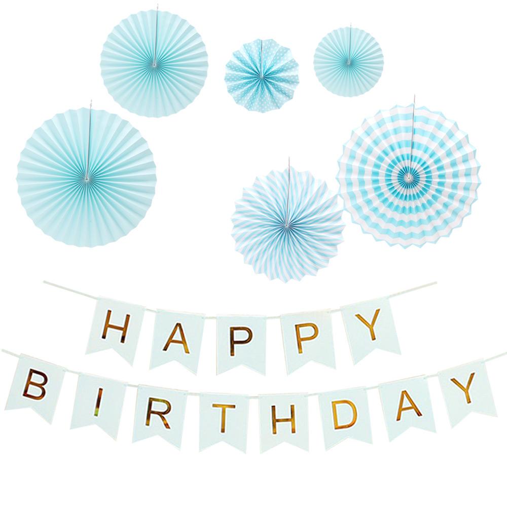 파티공구 생일가랜드 파티팬데코세트, 블루, 1세트