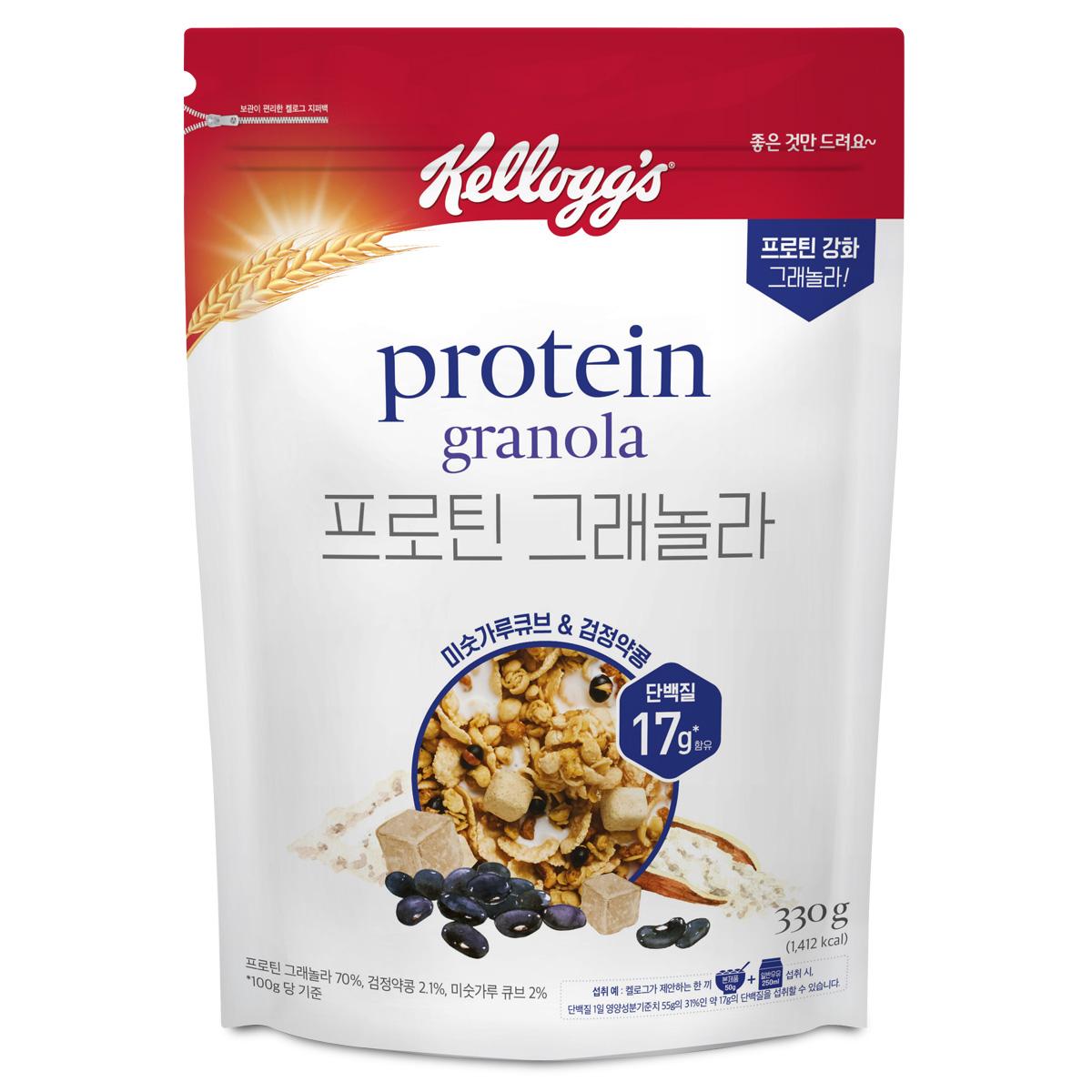 켈로그 프로틴그래놀라 미숫가루앤검정약콩, 330g, 1개입