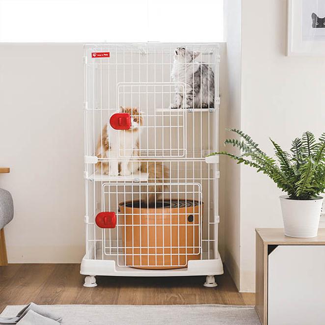 [고양이 케이지] 아이리스 미니 3단 고양이 케이지 PMCC-115, 화이트 - 랭킹6위 (104410원)