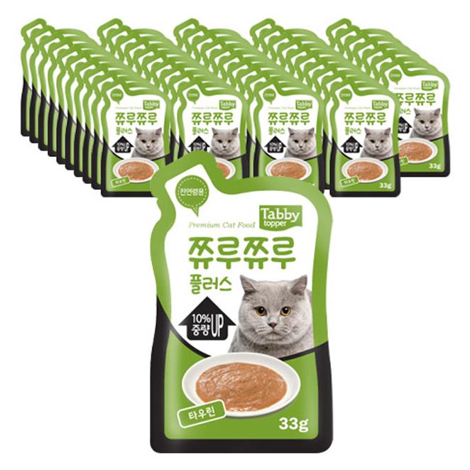 테비 쮸루쮸루플러스 고양이간식 33g, 타우린, 48개