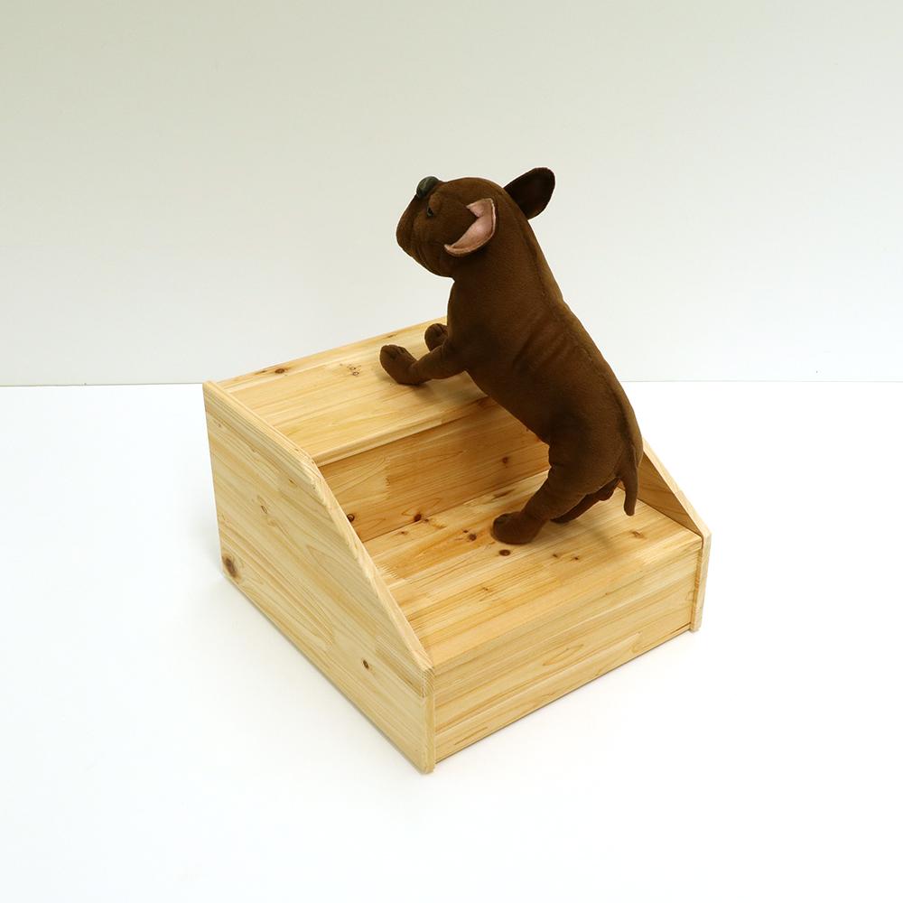 라뜰리에드보아 걍계단쓰리 2단 원목 강아지계단 겸 수납장 계단