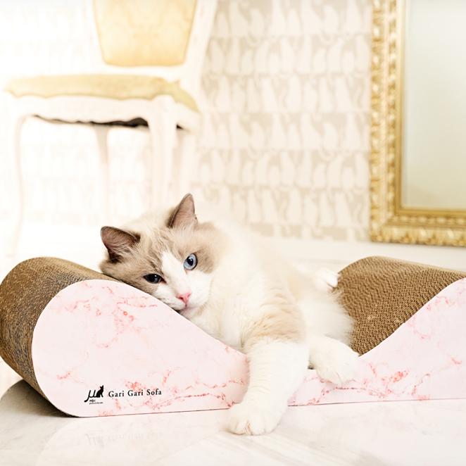 가리가리 고양이 스크래쳐 소파 평판형, 마블골드 + 로즈핑크, 1개