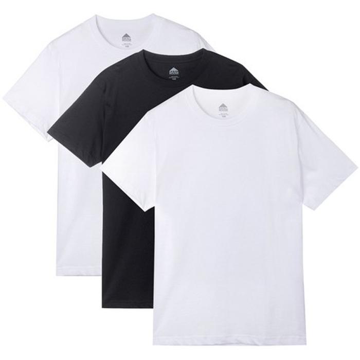 베이직하우스 순면라운드 반팔티 오리지널팩 3p HUTS0101, WHITE, BLACK