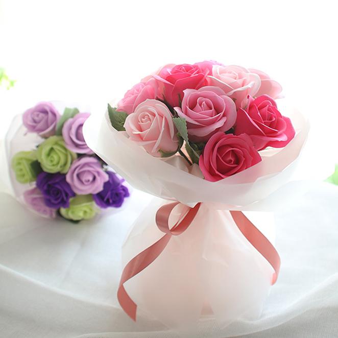 모리앤 로맨틱장미 꽃다발 10송이, 핑크