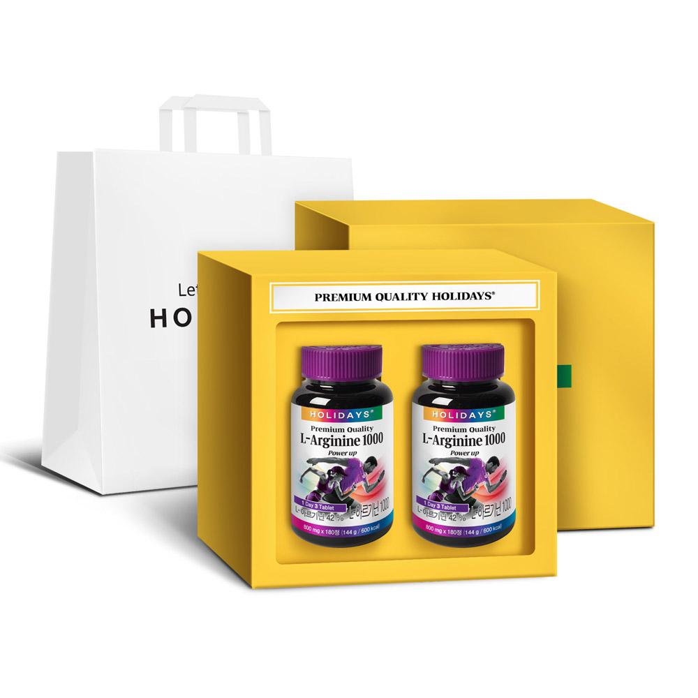 홀리데이즈 L 아르기닌 선물세트 + 쇼핑백, 180정, 2개-3-1072849173