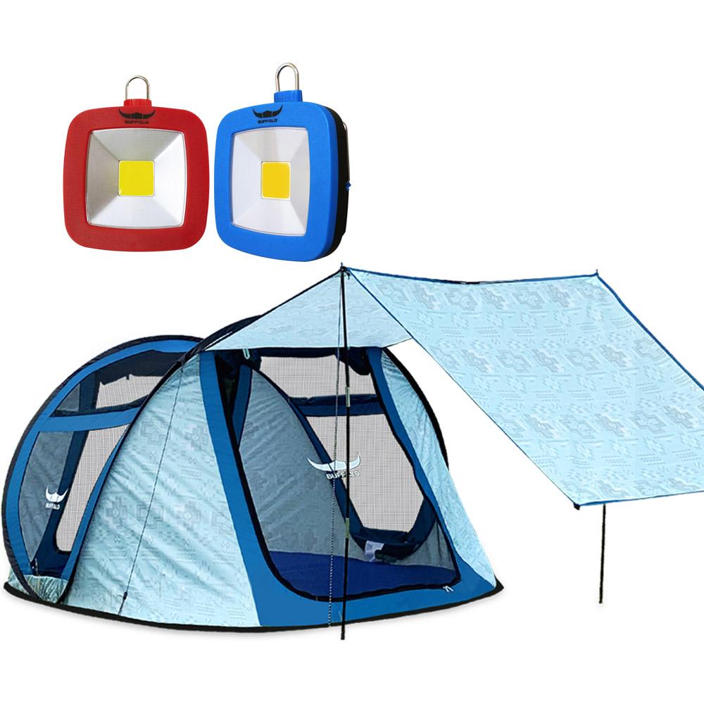 버팔로 슈퍼 프리미엄 팝업 텐트 + 미니 스퀘어 랜턴 2p, 혼합 색상, 6인용