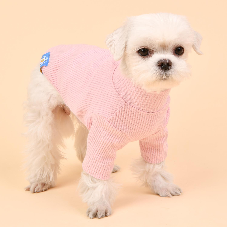 올치 강아지 고양이 파스텔 터틀넥 티셔츠, 핑크
