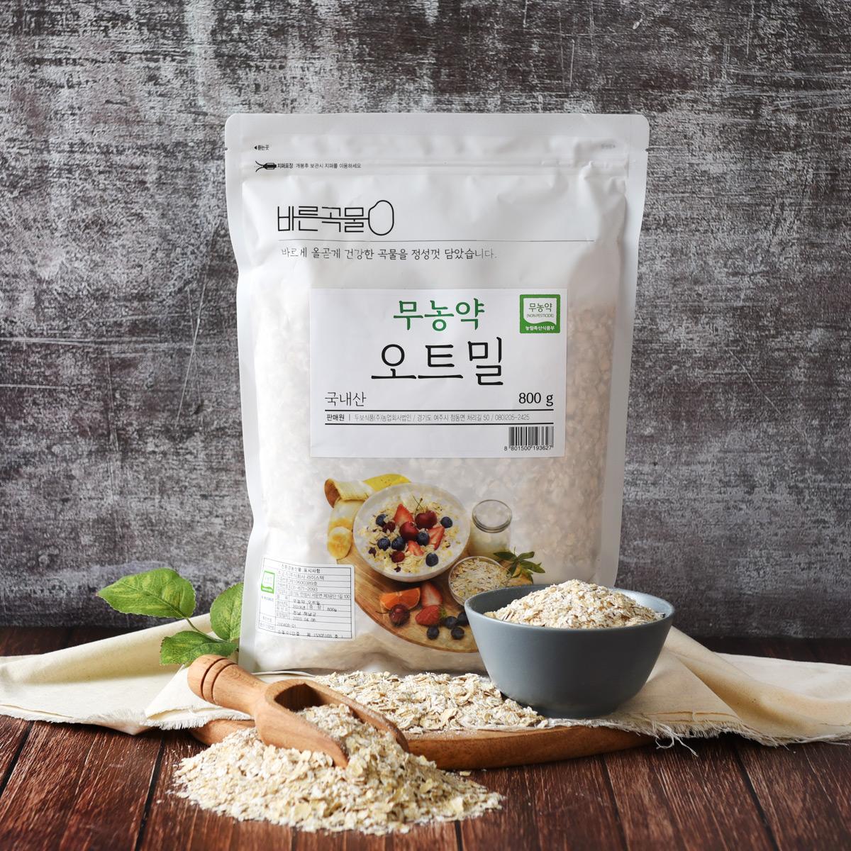 바른곡물 국내산 무농약 오트밀, 800g, 1개