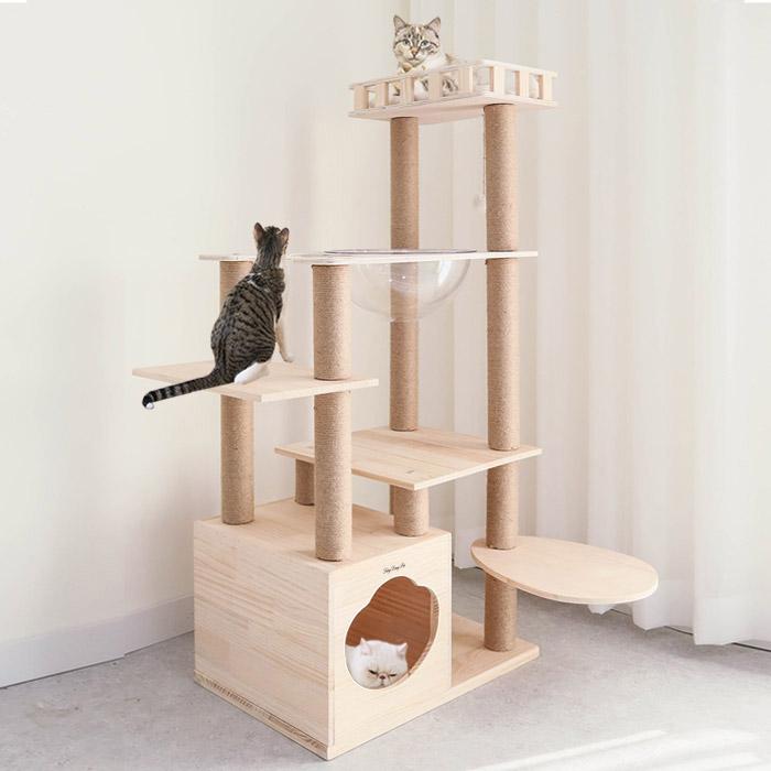 [딩동펫] 딩동펫 고양이 도도 원목 캣타워, 혼합색상, 1개 - 랭킹2위 (124000원)