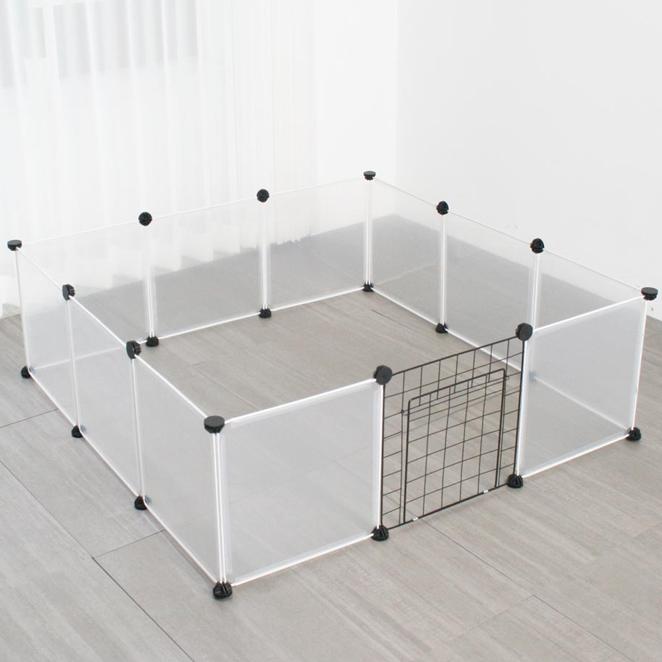 펫초이스 강아지 투명 울타리 11p + 철망문 1p 세트, 혼합 색상