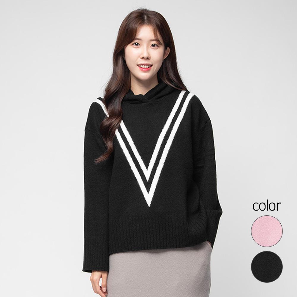 캐럿 여성용 브이 패턴 후드 스웨터