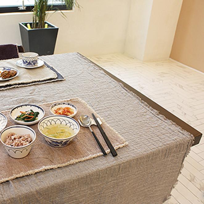 트위그뉴욕 어나더 소호 테이블 패브릭 양면거즈타올 식탁보, 라이트 그레이, 140 x 170 cm