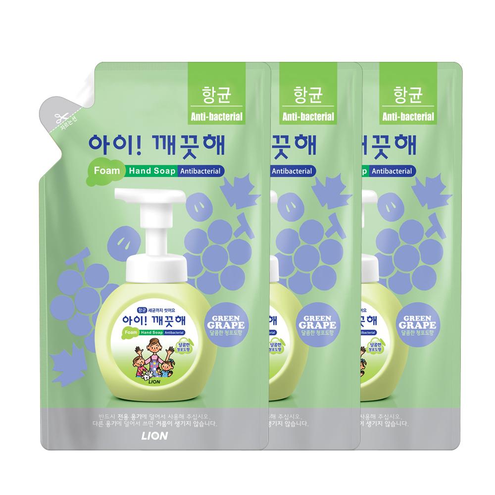 아이깨끗해 향균 거품 핸드 솝 청포도 리필, 450ml, 3개