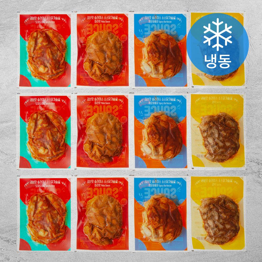 러브잇 닭가슴살 슬라이스 소스 130g x 4종 x 3팩 세트 (냉동), 1세트