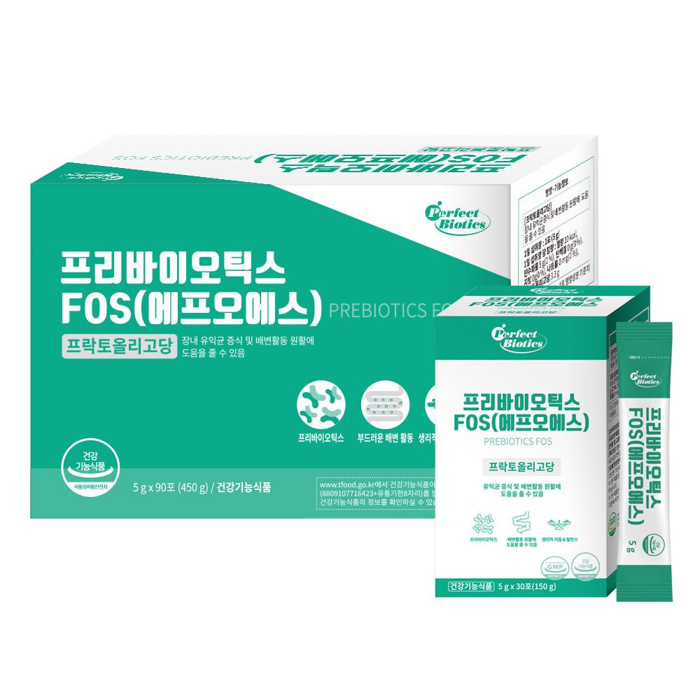 퍼펙트바이오틱스 프리바이오틱스 FOS 유산균, 150g, 3개입