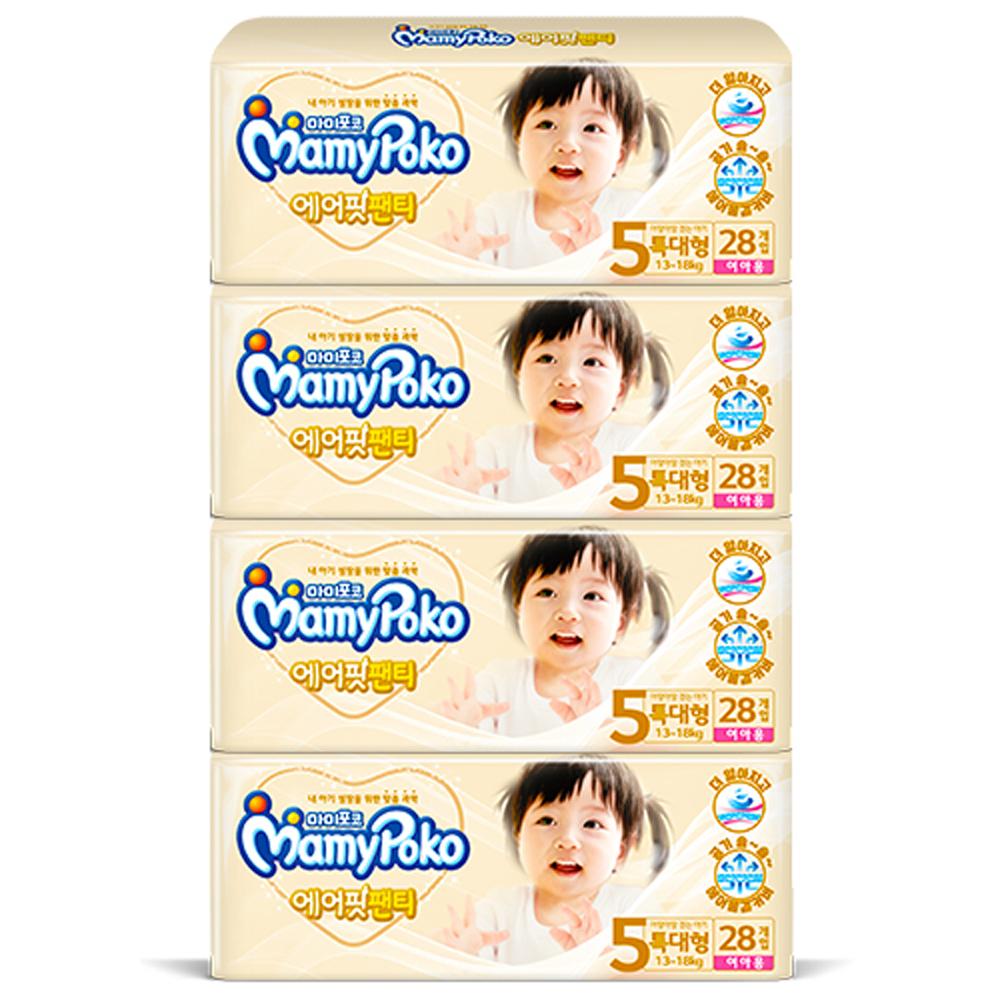마미포코 에어핏 팬티형 기저귀 여아용 특대형 5단계(13~18kg), 112매