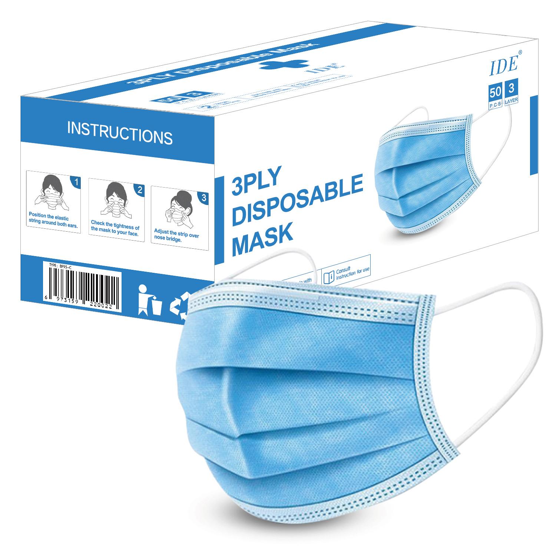 IDE 3중 멜트블로운 일회용 마스크 블루, 1개입, 50개