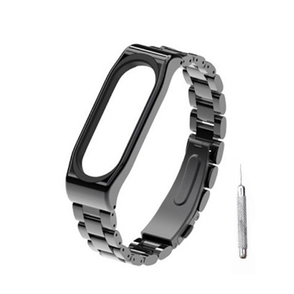 뽀마 미밴드3 & 4용 클래식 메탈 스트랩 + 시계줄 조절기, 단일상품, 블랙