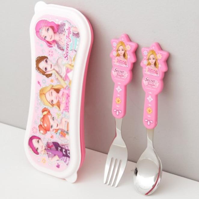 시크릿쥬쥬 루미 스푼 포크 케이스 세트 SJK-J1051, 핑크, 1세트