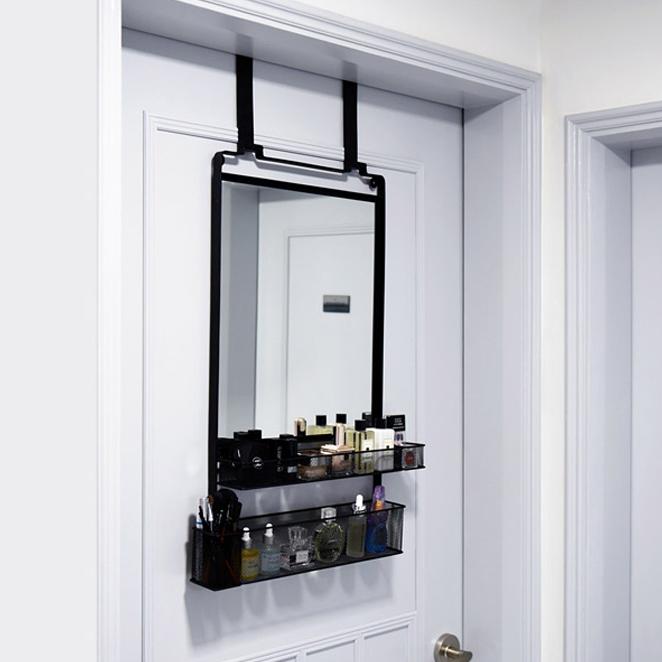 노바리빙 문걸이 수납 거울 화장대 롱후크, 블랙