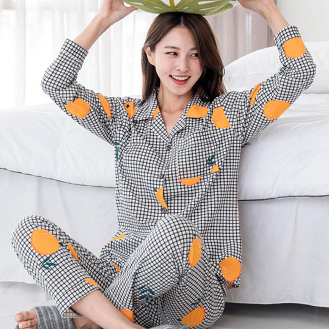 민트코코아 여성용 신디체크 긴팔잠옷 세트