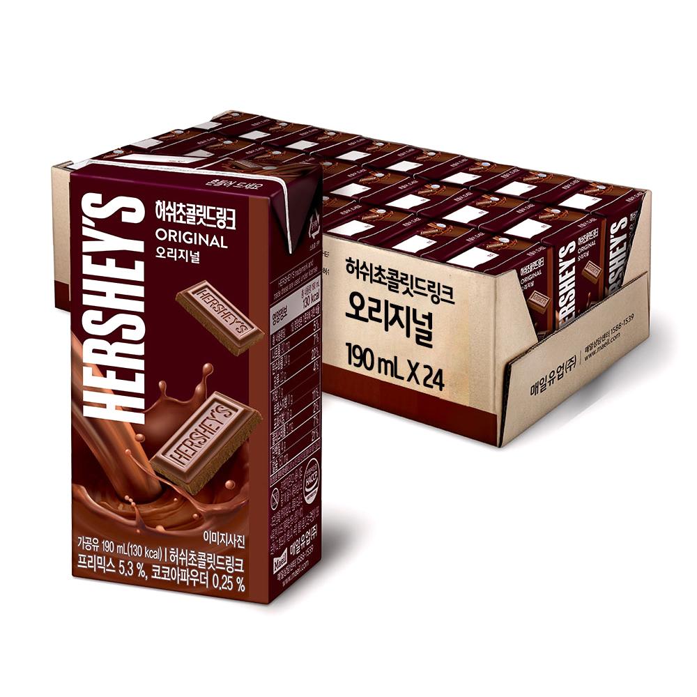허쉬 초콜릿드링크 오리지널, 190ml, 24개입