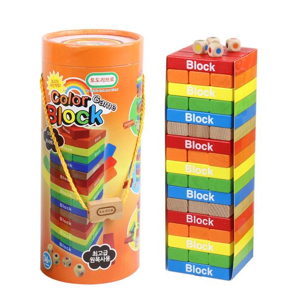 토도리브로 원목 게임 블록, 혼합색상, 1개