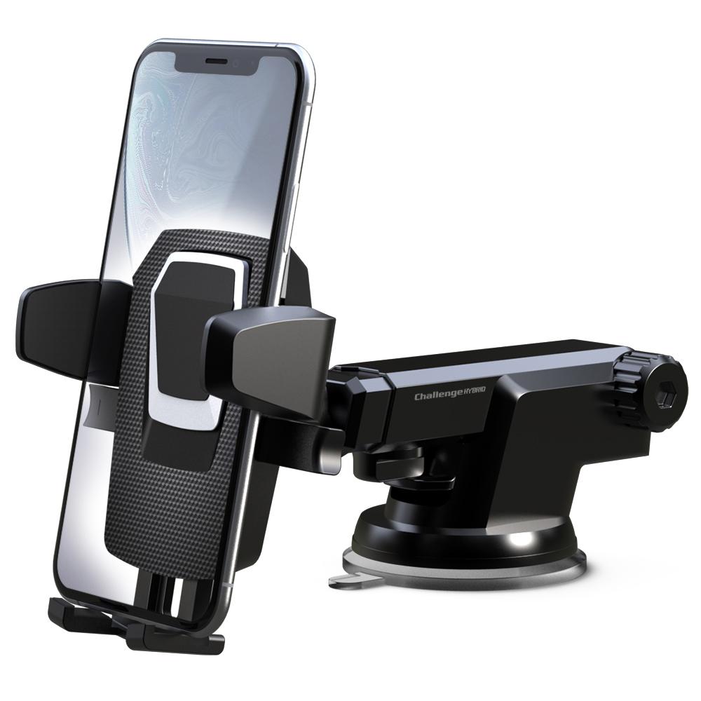 챌린지하이브리드 카본 미니 원터치 2 차량용 휴대폰 거치대, 1개, 블랙