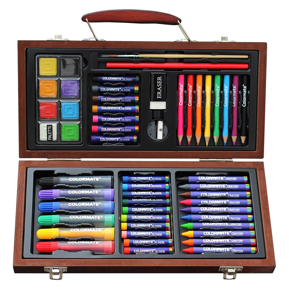 드림아트 어린이용 미술세트 우드케이스 MS-55W, 혼합 색상, 1세트