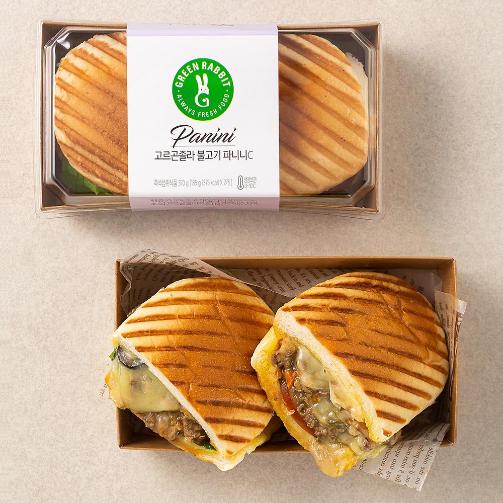 그린래빗 고르곤졸라 불고기 파니니 샌드위치, 185g, 2팩