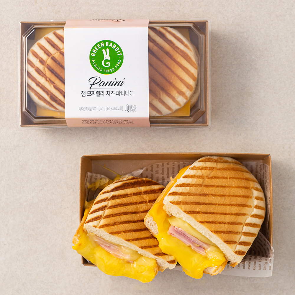 그린래빗 햄모짜렐라 치즈 파니니 샌드위치, 150g, 2팩