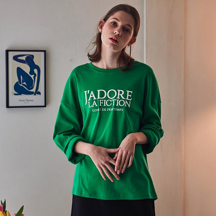 라티젠 여성용 롱슬리브 레터링 픽션 티셔츠