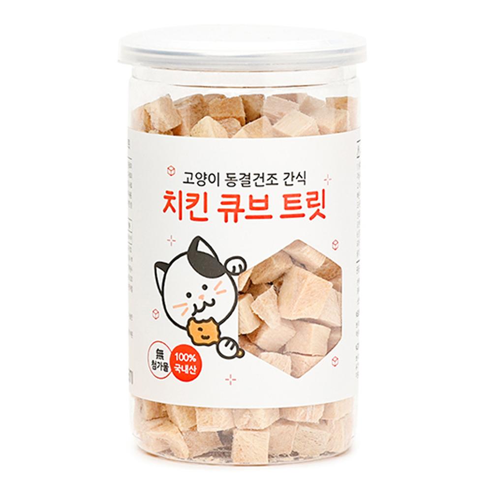 뽀시래기 고양이 동결건조 간식 큐브 트릿, 치킨, 1개