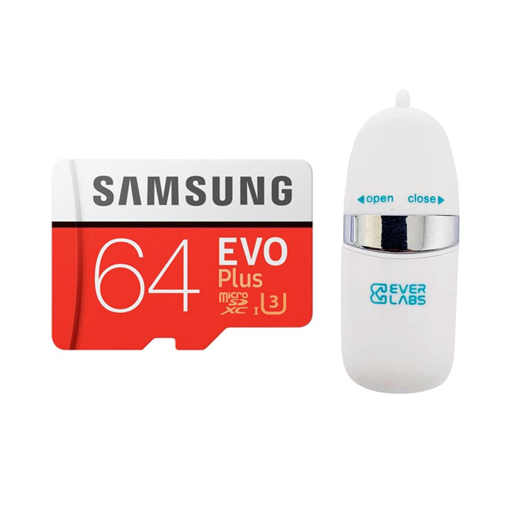 삼성전자 마이크로 SD EVO PLUS + SD어댑터 + USB리더기, 64GB
