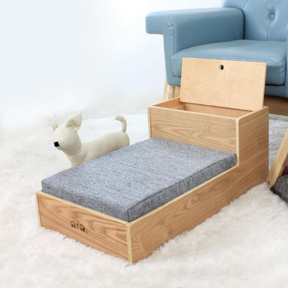 오모펫 2단 침대수납형 원목 강아지계단, 혼합 색상