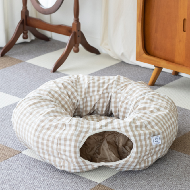 세븐펫 숨숨터널 고양이 터널 하우스 장난감, 베이지, 1개
