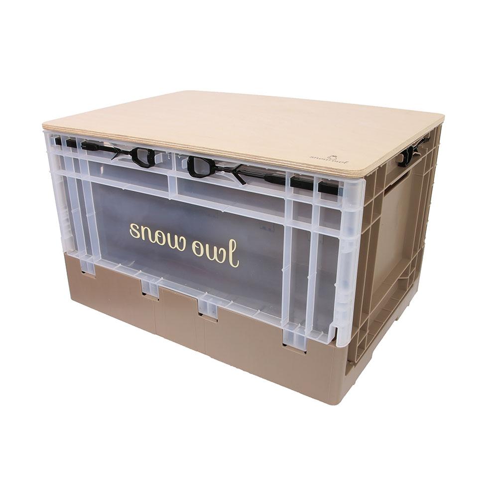 스노우아울 유틸리티 폴딩박스 + 우드상판 테이블 세트, 카라멜(폴딩박스), 우드(상판)