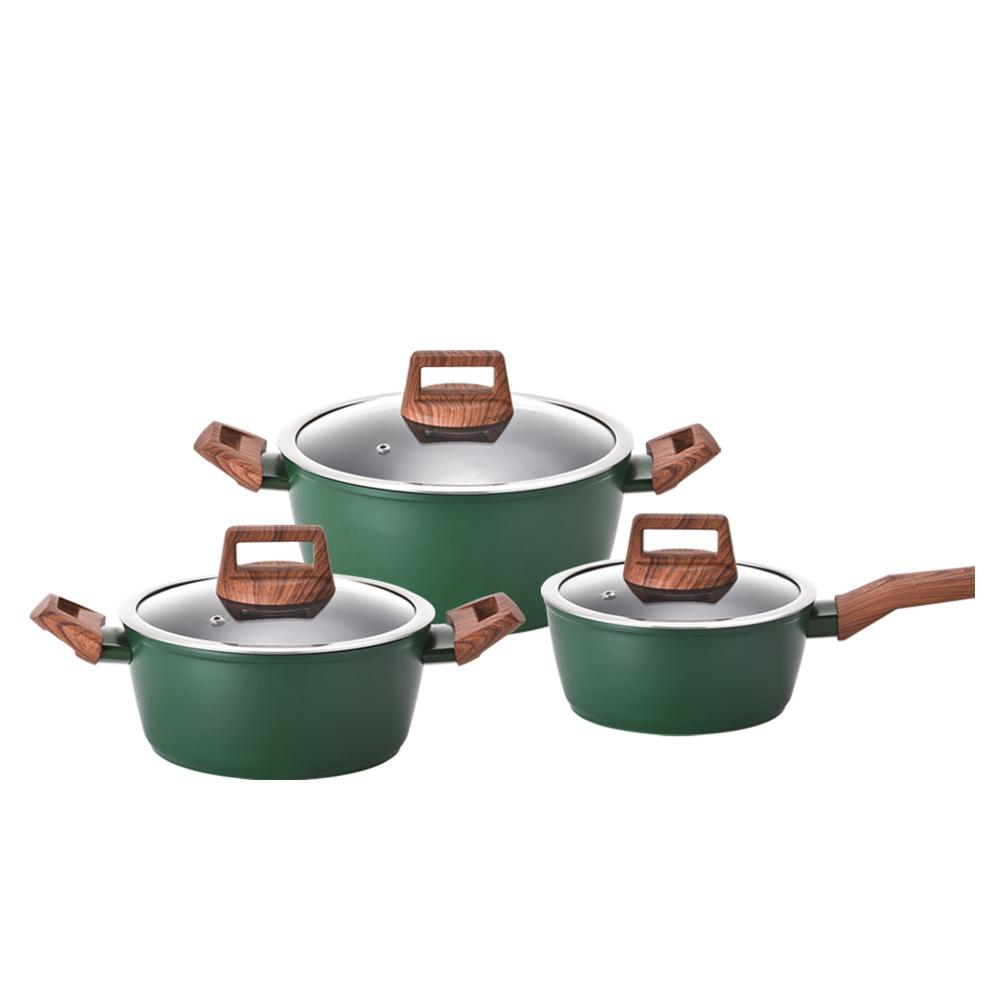 키친플라워 쿠킨 IH 인덕션 그린우드 냄비 세트 3p, 혼합 색상, 편수 냄비 18cm + 양수 냄비 20cm + 24cm