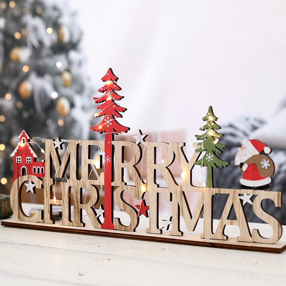 행복한마을 크리스마스 데코소품 크리스마스우드 사인 + 받침 + 세무줄 + LED 전구, 혼합 색상