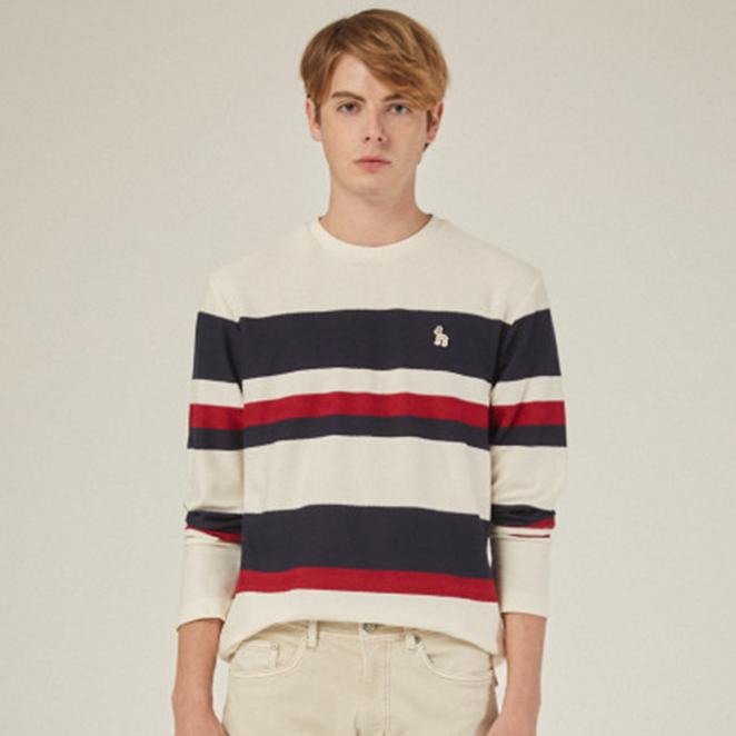 헤지스 남성용 컬러배색 면 긴팔 티셔츠 HZTS0C341
