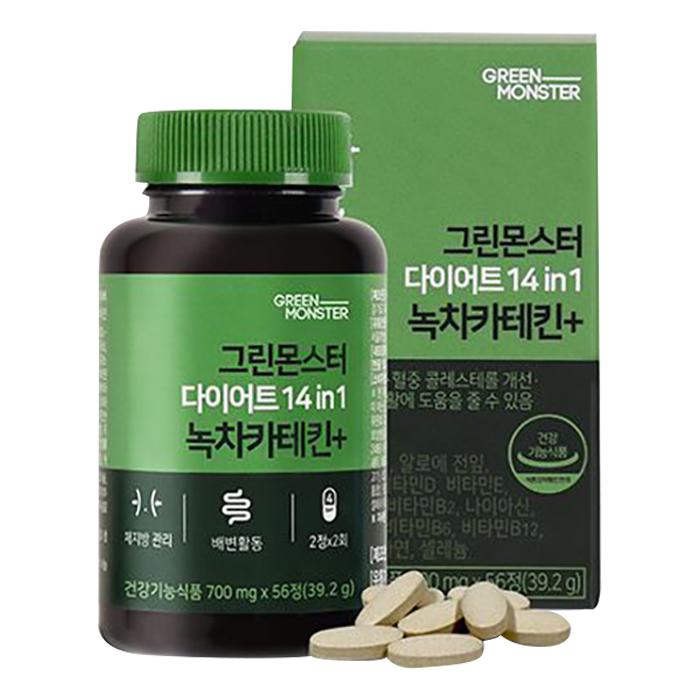그린몬스터 다이어트 14 in 1 녹차카테킨+, 56정, 1개