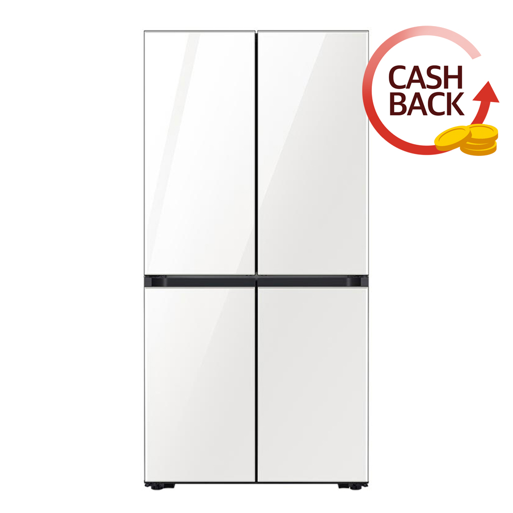 삼성전자 비스포크 4도어 냉장고 키친핏 글램화이트 RF61T91C335 605L 방문설치 (POP 1583365143)