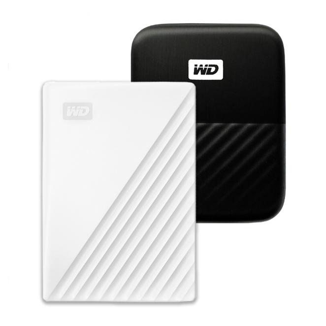 WD My Passport 휴대용 외장하드 + 파우치, 2TB, 화이트